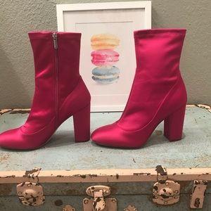 Sam Edelman Celexa Hot Pink Satin Sock Bootie - 10